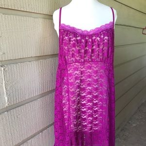 Vintage purple lace nightgown sexy slip-XL
